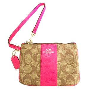 Coach PVC leather small wristlet Khaki/ Pink Ruby